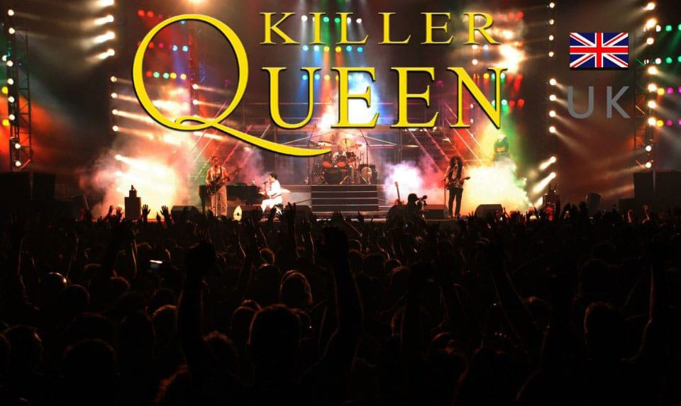 Queen tribute band live on a stage in Europe